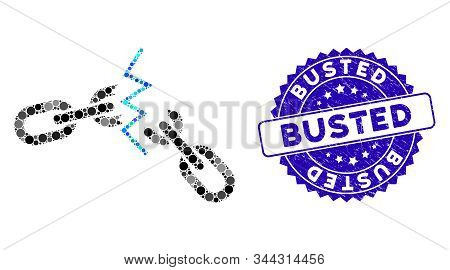 Mosaic Broken Chain Icon And Corroded Stamp Seal With Busted Phrase. Mosaic Vector Is Formed With Br