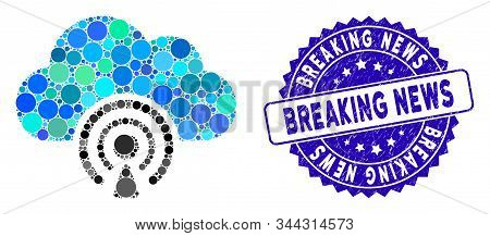 Mosaic News Icon And Grunge Stamp Watermark With Breaking News Phrase. Mosaic Vector Is Created With