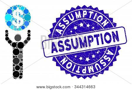 Mosaic Banker Icon And Distressed Stamp Seal With Assumption Caption. Mosaic Vector Is Designed With