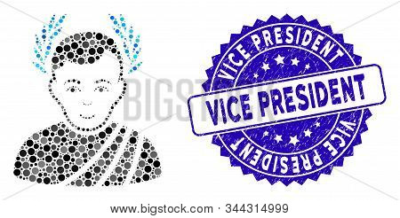 Mosaic Caesar Wreath Icon And Rubber Stamp Watermark With Vice President Phrase. Mosaic Vector Is Fo