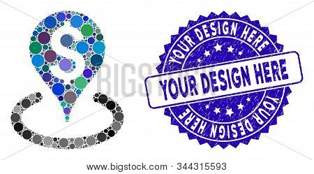 Mosaic Business Geotargeting Icon And Grunge Stamp Seal With Your Design Here Text. Mosaic Vector Is