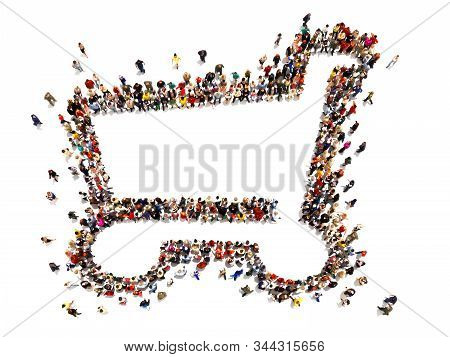 Large Crowd Of People Forming The Symbol Of A Shopping Cart .versatile Concept With Room For Text Or