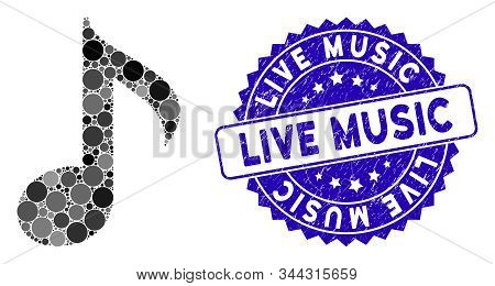 Mosaic Musical Note Icon And Distressed Stamp Seal With Live Music Caption. Mosaic Vector Is Created