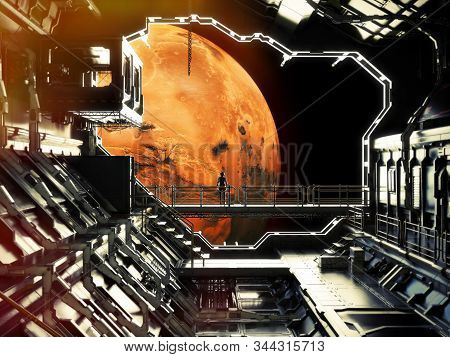 Discovery. Space Station In Orbit Around Mars With Lone Astronaut Enjoying The View. 3d Rendering .e