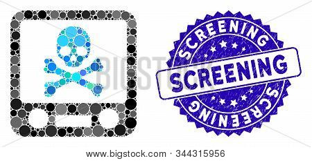 Mosaic Xray Screening Icon And Corroded Stamp Seal With Screening Caption. Mosaic Vector Is Created