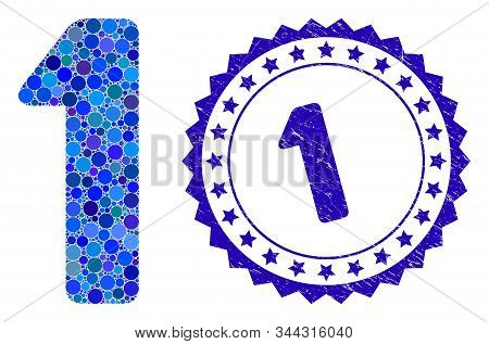 Collage 1 Digit Icon And Grunge Stamp Seal With 1 Caption. Mosaic Vector Is Formed With 1 Digit Icon
