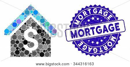 Mosaic Loan Mortgage Icon And Corroded Stamp Seal With Mortgage Phrase. Mosaic Vector Is Composed Fr