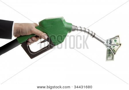 Male hand wasting USD with green pump isolated on white