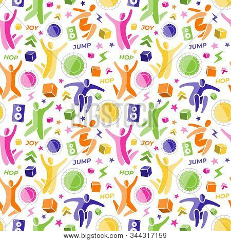 Repeating Seamless Pattern, Swatch. Set Of Icons: Jumping People, Top View Trampoline, Sound Speaker