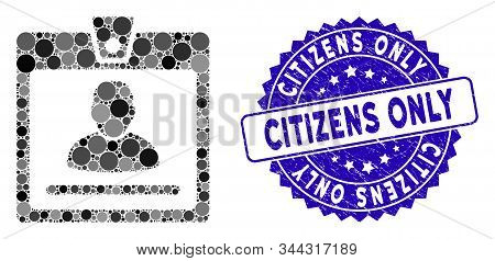 Mosaic Access Badge Icon And Corroded Stamp Watermark With Citizens Only Text. Mosaic Vector Is Crea