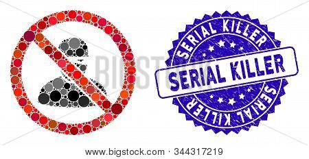 Mosaic No Ninja Icon And Distressed Stamp Seal With Serial Killer Phrase. Mosaic Vector Is Composed