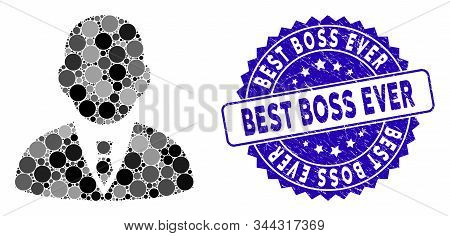 Mosaic Boss Icon And Rubber Stamp Watermark With Best Boss Ever Phrase. Mosaic Vector Is Created Wit