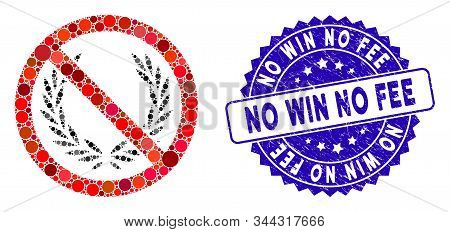 Mosaic No Glory Icon And Grunge Stamp Seal With No Win No Fee Caption. Mosaic Vector Is Formed With