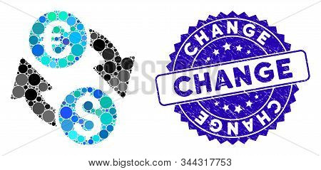 Mosaic Euro Dollar Change Icon And Rubber Stamp Watermark With Change Phrase. Mosaic Vector Is Creat