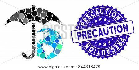 Mosaic Earth Umbrella Icon And Rubber Stamp Watermark With Precaution Phrase. Mosaic Vector Is Creat