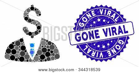 Mosaic Businessman Icon And Rubber Stamp Watermark With Gone Viral Phrase. Mosaic Vector Is Composed