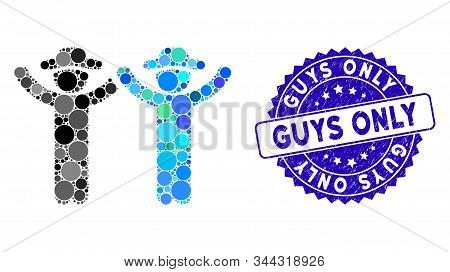 Mosaic Hands Up Gentlemen Icon And Corroded Stamp Seal With Guys Only Text. Mosaic Vector Is Created
