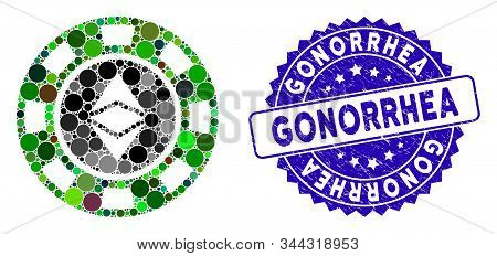 Mosaic Ethereum Casino Chip Icon And Corroded Stamp Seal With Gonorrhea Caption. Mosaic Vector Is De