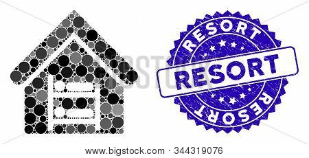 Mosaic Hostel Icon And Rubber Stamp Watermark With Resort Phrase. Mosaic Vector Is Formed From Hoste