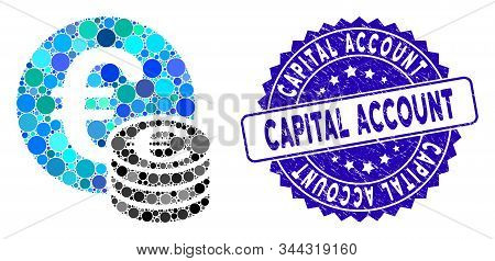 Mosaic Euro Coin Stack Icon And Rubber Stamp Seal With Capital Account Text. Mosaic Vector Is Formed