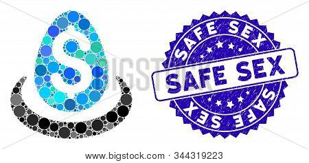 Mosaic Dollar Deposit Egg Icon And Grunge Stamp Seal With Safe Sex Caption. Mosaic Vector Is Formed