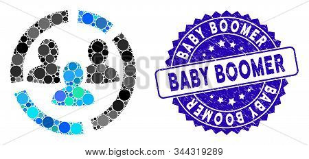 Collage Demography Diagram Icon And Rubber Stamp Seal With Baby Boomer Text. Mosaic Vector Is Design