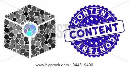 Collage Cube Vertex Icon And Rubber Stamp Seal With Content Caption. Mosaic Vector Is Composed With