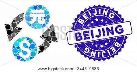 Mosaic Dollar Yuan Exchange Icon And Rubber Stamp Seal With Beijing Phrase. Mosaic Vector Is Compose