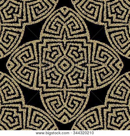 Textured Geometric Gold Greek Vector Seamless Pattern. Stippled Ornamental Grunge Background. Repeat