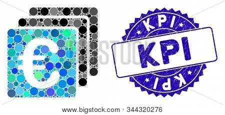 Mosaic Euro Finances Icon And Grunge Stamp Watermark With Kpi Text. Mosaic Vector Is Created From Eu