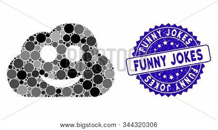 Mosaic Glad Cloud Icon And Rubber Stamp Seal With Funny Jokes Caption. Mosaic Vector Is Designed Wit