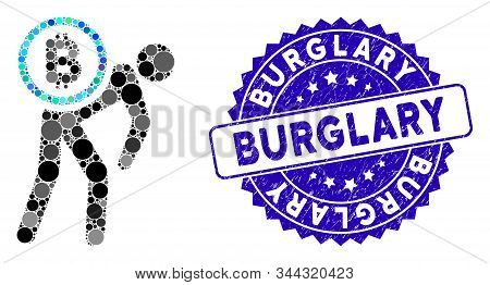 Mosaic Bitcoin Courier Person Icon And Corroded Stamp Seal With Burglary Phrase. Mosaic Vector Is Cr