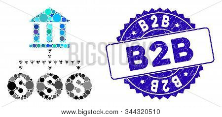 Mosaic Bank Structure Icon And Grunge Stamp Watermark With B2b Text. Mosaic Vector Is Created From B
