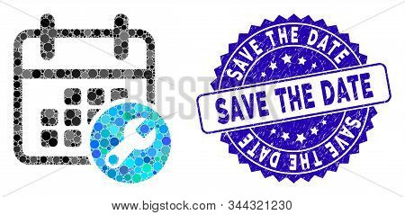 Mosaic Calendar Setup Icon And Corroded Stamp Watermark With Save The Date Text. Mosaic Vector Is Co