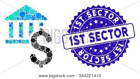 Mosaic Dollar Bank Icon And Grunge Stamp Watermark With 1st Sector Phrase. Mosaic Vector Is Formed F