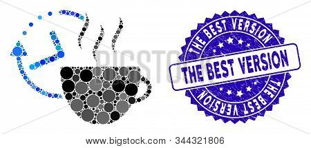 Mosaic Coffee Break Icon And Rubber Stamp Seal With The Best Version Text. Mosaic Vector Is Created