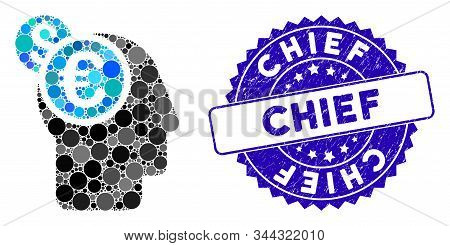 Mosaic Banker Icon And Corroded Stamp Seal With Chief Text. Mosaic Vector Is Formed From Banker Icon