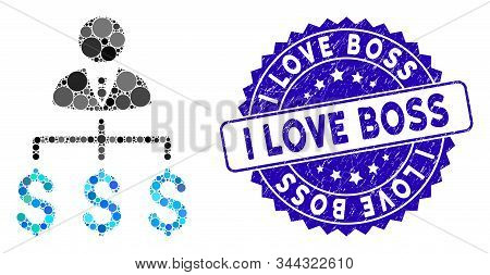 Mosaic Boss Payments Icon And Rubber Stamp Seal With I Love Boss Text. Mosaic Vector Is Formed With