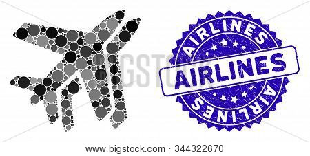 Mosaic Airlines Icon And Grunge Stamp Seal With Airlines Phrase. Mosaic Vector Is Composed With Airl