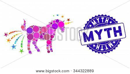 Collage Farting Unicorn Icon And Corroded Stamp Seal With Myth Caption. Mosaic Vector Is Designed Wi