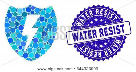 Mosaic Electric Shield Icon And Corroded Stamp Seal With Water Resist Phrase. Mosaic Vector Is Desig