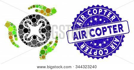 Mosaic Air Copter Care Hands Icon And Rubber Stamp Watermark With Air Copter Phrase. Mosaic Vector I