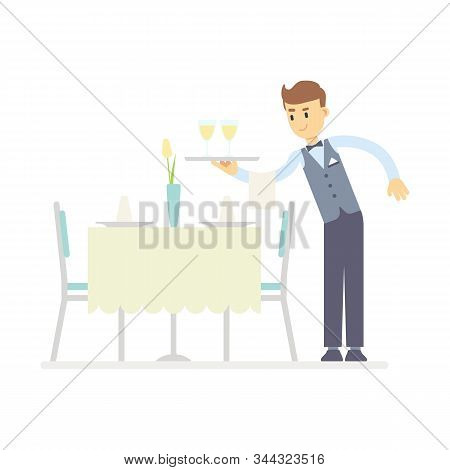 Flat Waiter Holding Glass Of Wine On Tray, Serves The Table. A Table In The Restaurant Is Served For