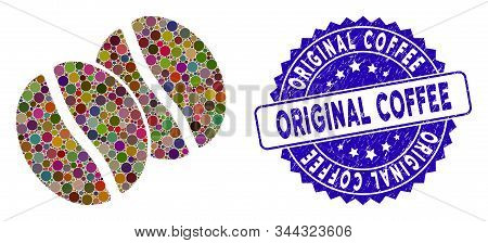 Mosaic Coffee Beans Icon And Rubber Stamp Seal With Original Coffee Phrase. Mosaic Vector Is Created