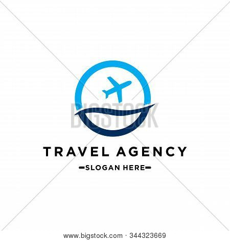 Travel Agency Vector Logo Template. Holiday Logo Template. Airplane Travel Tourism. Around The World