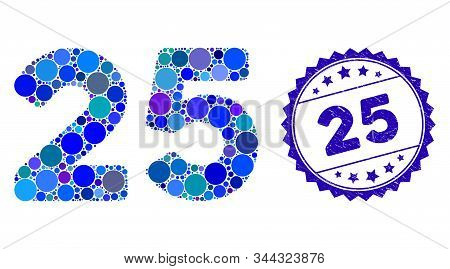 Collage 25 Digits Text Icon And Corroded Stamp Seal With 25 Phrase. Mosaic Vector Is Formed With 25