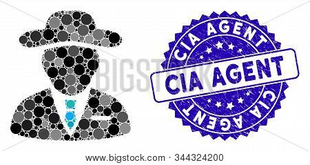 Mosaic Agent Icon And Distressed Stamp Seal With Cia Agent Text. Mosaic Vector Is Created With Agent