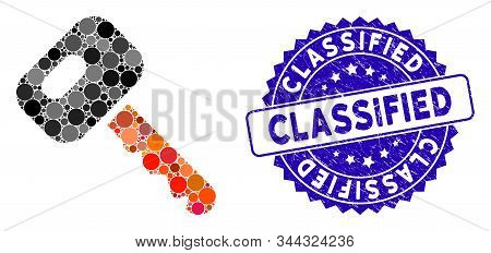 Mosaic Car Key Icon And Grunge Stamp Watermark With Classified Text. Mosaic Vector Is Designed From