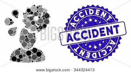 Mosaic Circular Saw Accident Icon And Grunge Stamp Watermark With Accident Phrase. Mosaic Vector Is