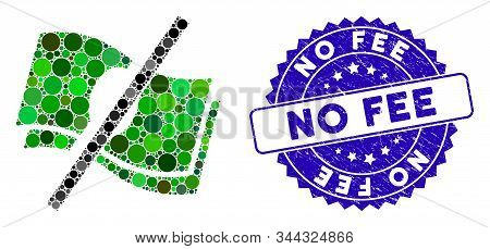 Collage No Fee Icon And Grunge Stamp Seal With No Fee Caption. Mosaic Vector Is Created With No Fee